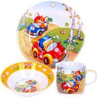 Детский набор LORAINE «Машинки» 3 предмета 2 тарелки и чашка 29938