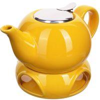 Заварочный чайник LORAINE 800 мл желтый, подсьавка с подогревом 28683-1