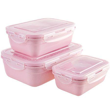 Набор из 3-х контейнеров Loraine из пластика розового цвета 29553