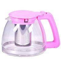 Чайник заварочный Mayer&Boch 1 л из стекла с розовой ручкой и крышкой 29948-2