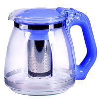 Чайник заварочный Mayer&Boch 1,5 л из стекла с синей ручкой и крышкой 29949-1