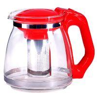 Чайник заварочный Mayer&Boch 1,5 л из стекла с красной ручкой и крышкой 29949-3