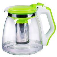 Чайник заварочный Mayer&Boch 1,8 л материал стекло с зеленой ручкой и крышкой 29950-2