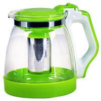 Чайник заварочный Mayer&Boch 1,8 л из стекла с зеленой ручкой и крышкой 29951-2