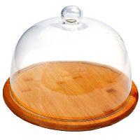 Сырница Mayer&Boch 24 см из бамбука со стеклянной крышкой 29911