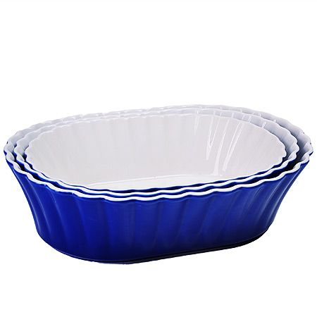 Набор салатниц Loraine 3 предмета овальные материал керамика цвет синий 29579