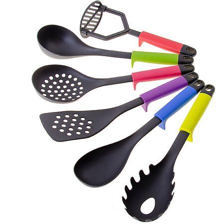 Набор кухонных принадлежностей Mayer&Boch 6 предметов с разноцветными ручками и подставка 29525