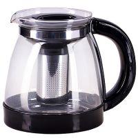 Чайник заварочный Mayer&Boch 1,8 л материал стекло с черной ручкой и крышкой 29952