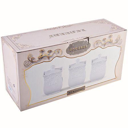 Набор из 3-х банок Mayer&Boch из керамики белого цвета в подарочной упаковке 110-339