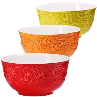 Набор салатниц Loraine 3 шт из керамики разноцветные 29608