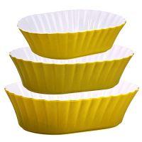 Набор салатниц Loraine 3 предмета овальные материал керамика цвет желтый 29581