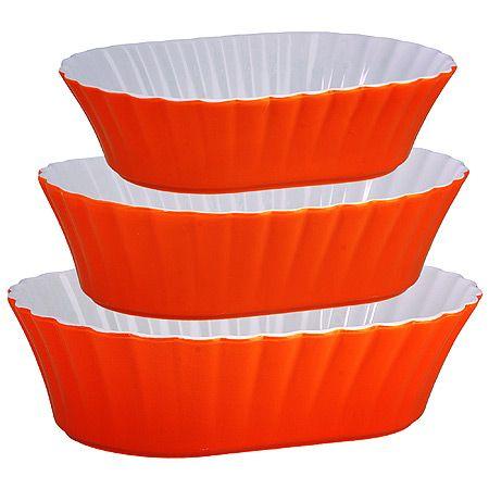 Набор салатниц Loraine 3 предмета из керамики оранжевого цвета 29582
