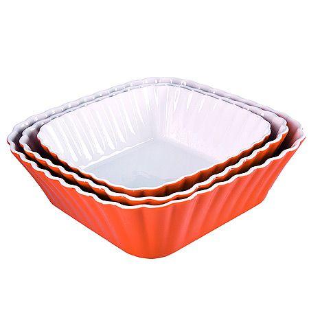 Набор салатниц Loraine 3 предмета керамические оранжевого цвета 29586