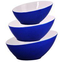 Набор салатниц Loraine 3 шт овальные материал керамика цвет синий 29587