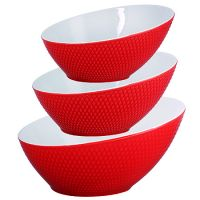 Набор салатниц Loraine 3 шт овальные красного цвета 29588