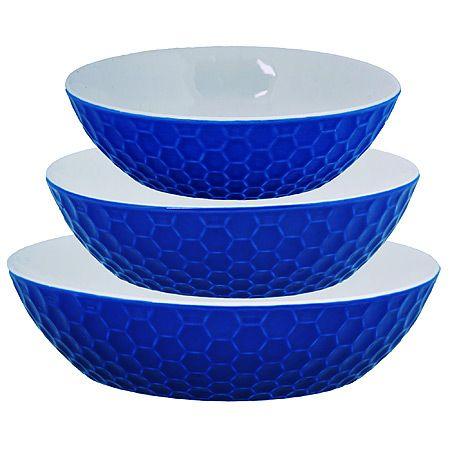 Набор салатниц Loraine 3 предмета круглые из керамики цвет синий 29563