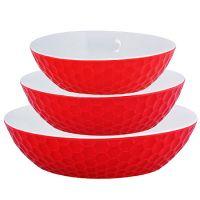 Набор салатниц Loraine 3 предмета круглые материал керамика цвет красный 29564