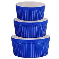 Набор салатниц Loraine 3 шт материал керамика цвет синий 29567