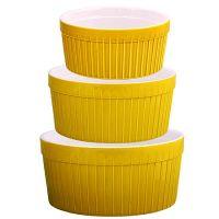 Набор салатниц Loraine 3 предмета материал керамика цвет желтый 29569