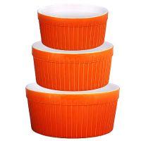Набор салатниц Loraine 3 предмета круглые из керамики цвет оранжевый 29570
