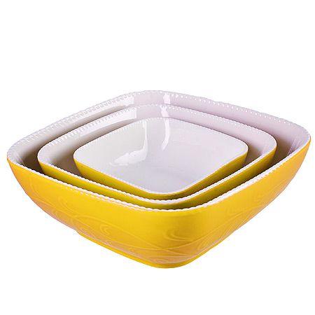 Набор салатниц Loraine 3 предмета квадратные цвет желтый 29573