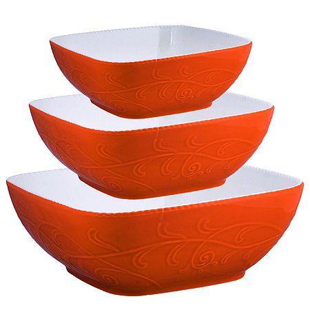 Набор салатниц Loraine 3 предмета материал керамика цвет оранжевый 29574