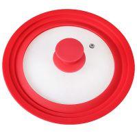 Крышка Mayer&Boch универсальная 22-24-26 материал силикон и стекло цвет красный 24873-В1