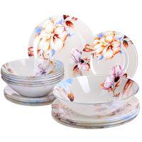 Набор стеклянных тарелок LORAINE 19 предметов с декором 28331