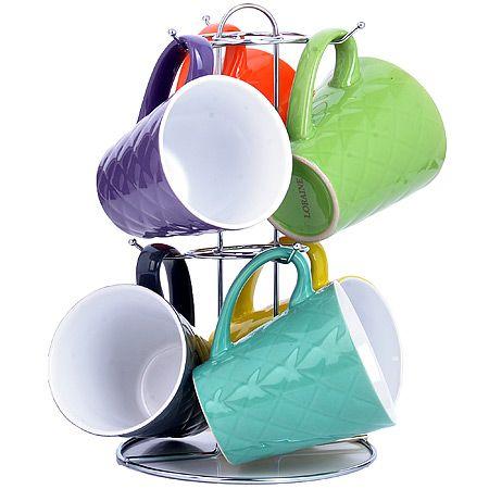 Набор чашек LORAINE 6 предметов на металлической подставке 350 мл 23137