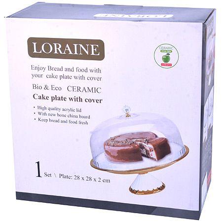 Тортовница Loraine 28 см на ножке с пластиковой крышкой 29989