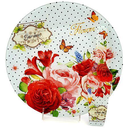 Тортовница Loraine 30 см с принтом розы и лопаткой 29882