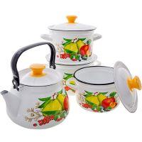 Набор 4 предмета Дюшес белый (цилиндр 2л, 3л, 4л, чайник 3л) 42019