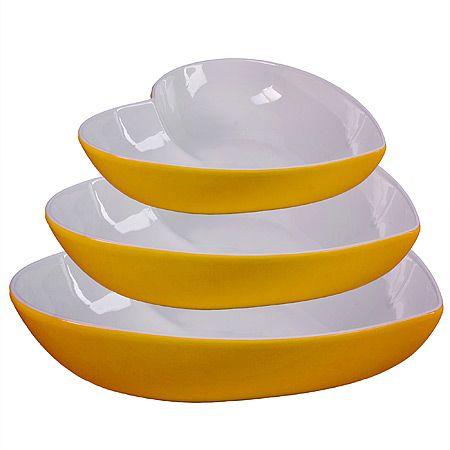 Набор салатниц Loraine 3 предмета в форме сердца цвет желтый 29577