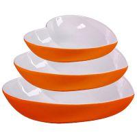 Набор салатниц Loraine 3 предмета в форме сердца из керамики цвет оранжевый 29578