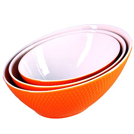 Набор салатниц Loraine 3 предмета овальные из керамики цвет оранжевый 29590