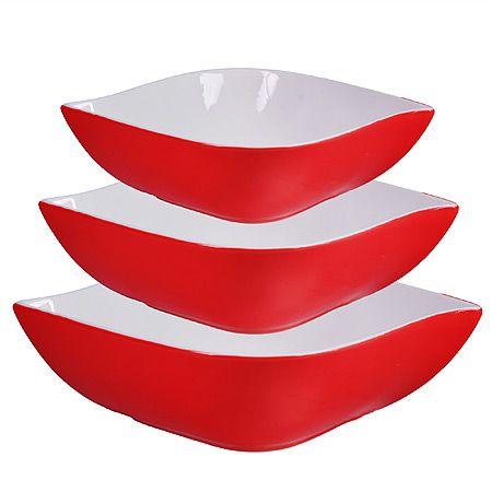 Набор салатниц Loraine 3 шт квадратные материал керамика цвет красный 29592