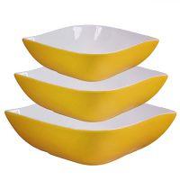 Набор салатниц Loraine 3 предмета квадратные материал керамика цвет желтый 29593
