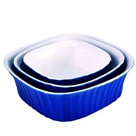 Набор салатниц Loraine 3 предмета квадратные из керамики цвет синий 29595