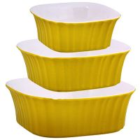 Набор салатниц Loraine 3 предмета квадратные из керамики цвет желтый 29597