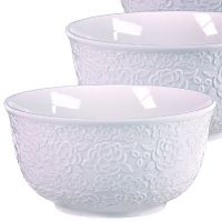 Набор салатниц Loraine 3 предмета из керамики белого цвета 29600