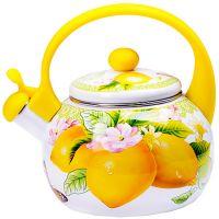 Чайник Mayer&Boch 2,2 л эмалированный с принтов лимоны со свистком 29760