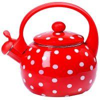 Чайник Mayer&Boch 2,2 л эмалированный со свистком красный в белый горошек 29762