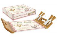 Поднос/доска для сыра с 4-мя ножами, бамбук/стекло FROMAGE в подарочной упаковке EL-0890/FRMA