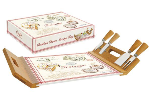 Поднос/доска для сыра с 4-мя ножами, бамбук/стекло FROMAGE в подарочной упаковке EL-0890_FRMA