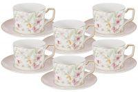 Набор 12 предметов Цветы: 6 чашек + 6 блюдец Anna Lafarg Emily AL-M2124_12-E9