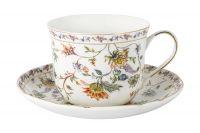 Чашка с блюдцем Флора (белая) большая Anna Lafarg Primavera AL-1557W-DJ-P4