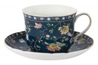 Чашка с блюдцем Флора (синяя) большая Anna Lafarg Primavera AL-1557DB-DJ-P4