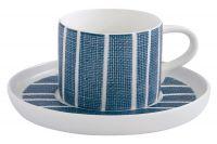 Чашка с блюдцем (синий с белыми полосками) Бриз Easy Life (R2S) EL-R2404_BRZE