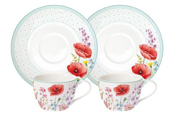 Набор: 2 чашки + 2 блюдца Красные маки Easy Life (R2S) EL-R0922_COQU