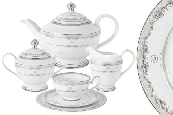 Чайный сервиз Корона Midori (серебро) 23 предмета на 6 персон MI2-K3036-E6_23-S